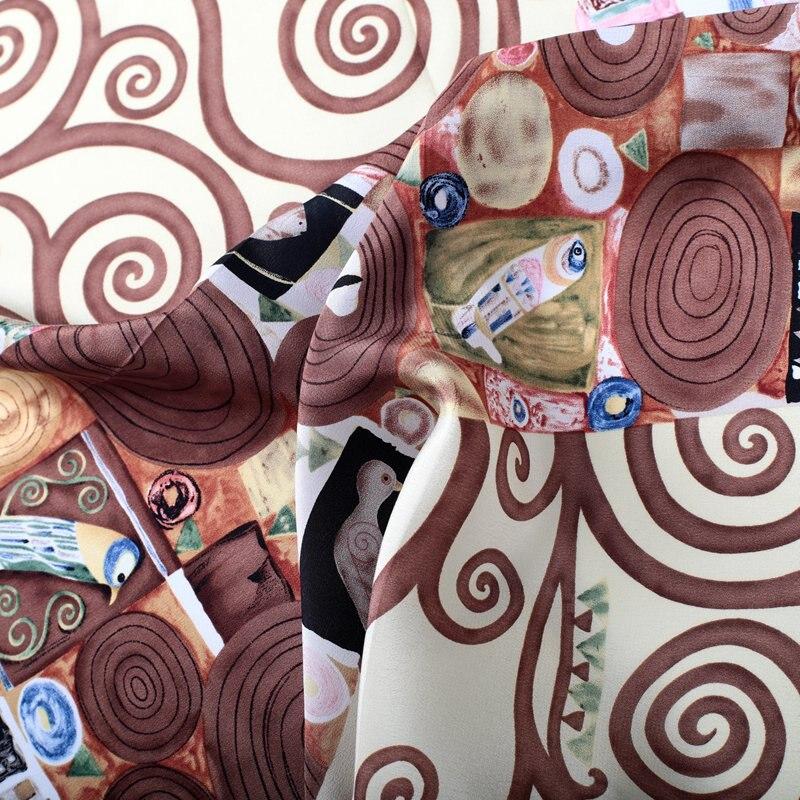 Oil Painting 100% Silk Bandana Neckerchief Small Square Silk   Scarves     Wraps   Head Neck Accessories 53x53cm