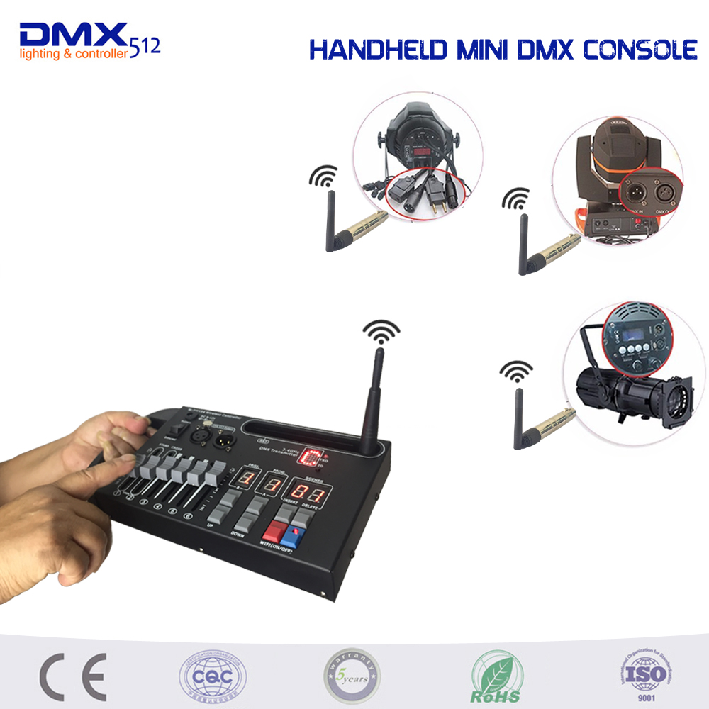 DHL Free shipping Handheld MINI 54ch wireless dmx console for home KTV DJ stage light can use 9V battery stage lighting console dhl free shipping 54ch mini dmx controller console dj console dj controller dj lighting controller 9v battery 12v dc powered