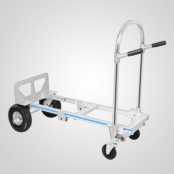 Aluminum Hand Truck Jr 2-In-1 Convertible Hand Truck Dolly 2 to 4 Wheeler Aluminum Hand Truck Cart