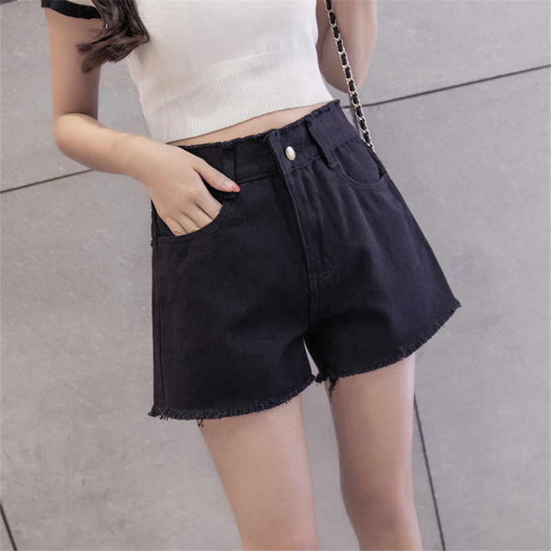 2017 Spring Denim Shorts Female Summer Big Size S-5XL Loose High Waist Jeans for Women Simple Tassel Black White Shorts Jeans