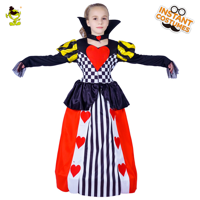 New Girls Queen Of Heart Princess Costume Child Carnival Fantasia Fancy Dress Kids Halloween cosplay Clothing