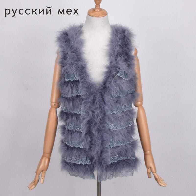 Mode femmes nouveau réel fourrure gilets veste de survêtement 100% naturel autruche plume printemps automne turquie fourrure gilet