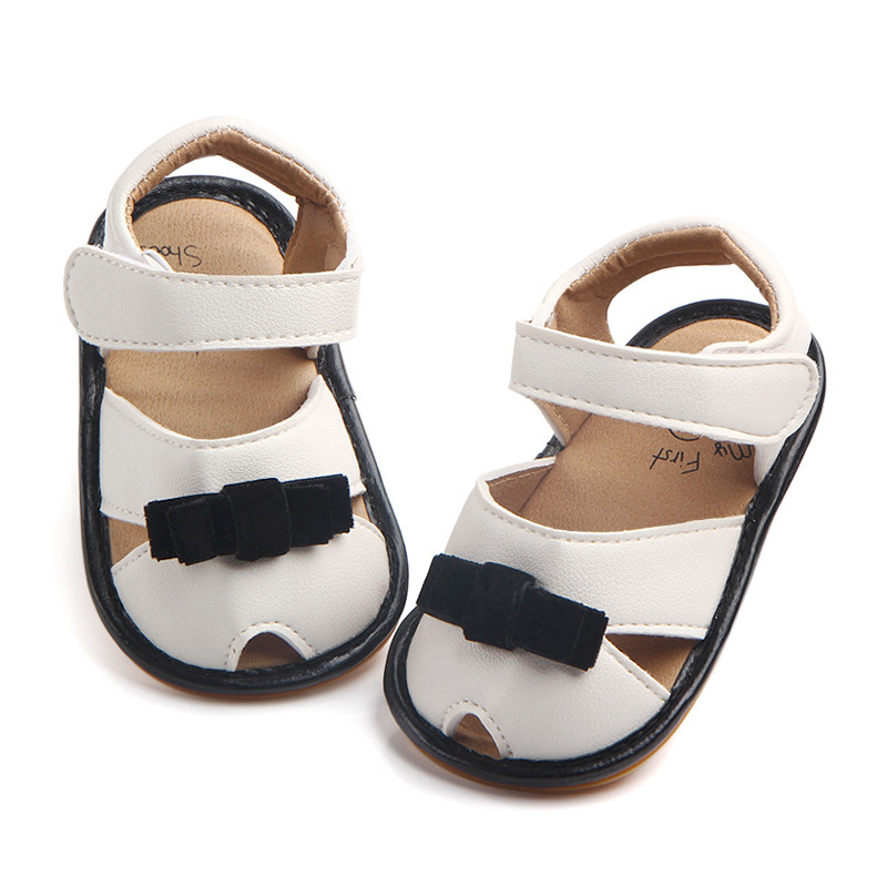 Summer Baby Girl Bow Knot Rubber Soled PU leather Shoes Infant Toddler Kids Print Bow-knot Outdoor Anti-slip First Walkers