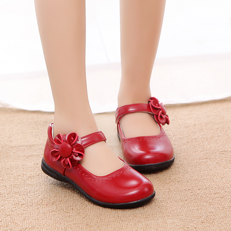 2019 New Kids Girls Flower Children Leather Shoes For Girls School Red Black Pink  Party Wedding Dance Dress Shoes 3-12 Year Old