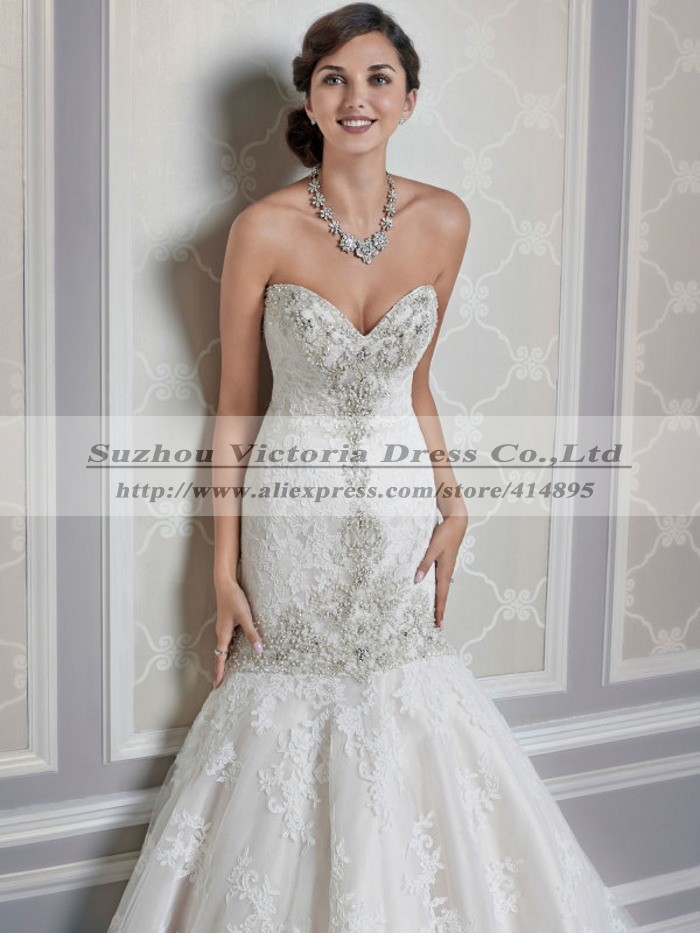 Sweetheart Crystal Wanda Borges Wedding Dresses Lace Mermaid ...