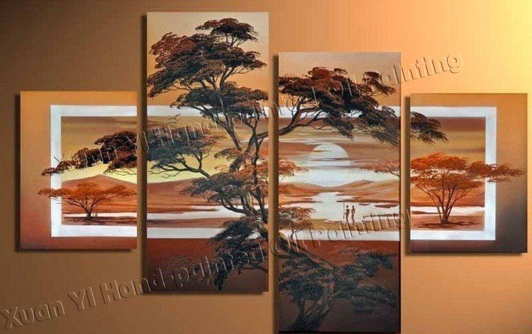 Hand painted wall art sunrise hutan gunung elegan dekorasi rumah abstrak landscape oil painting on canvas 4 piece wall art di painting calligraphy dari