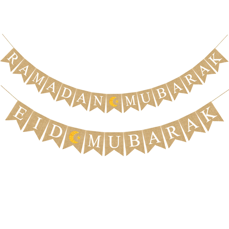 1set EID MUBARAK Glitter Gold Black Banner Eid al Adha Mubarak Bunting Garland Happy al-Fitr Decoration for Home