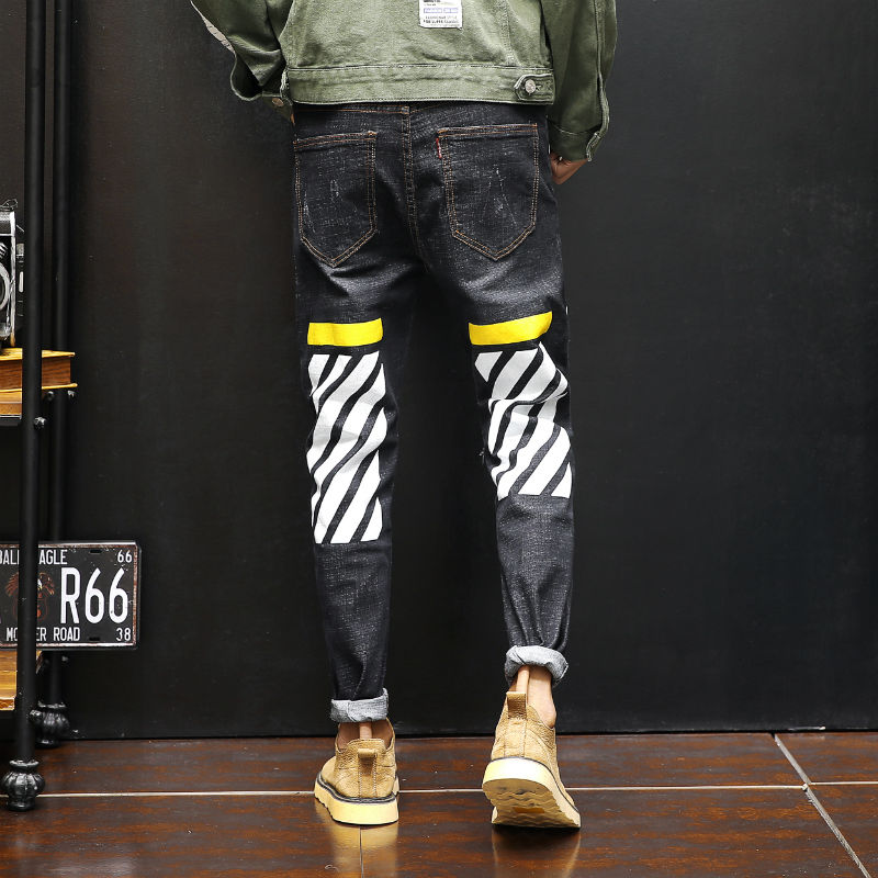 2018 Jeans Men thin Slim Denim Jeans Mens Casual Cotton Washed Designer Jeans Masculino Jean Homme zebra crossing printing -5XL