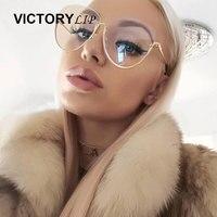 2017 New Summer Oversized Cat Eye Brand Designer Clear Mirror Irregular Sunglasses Men Women Transparen Sun