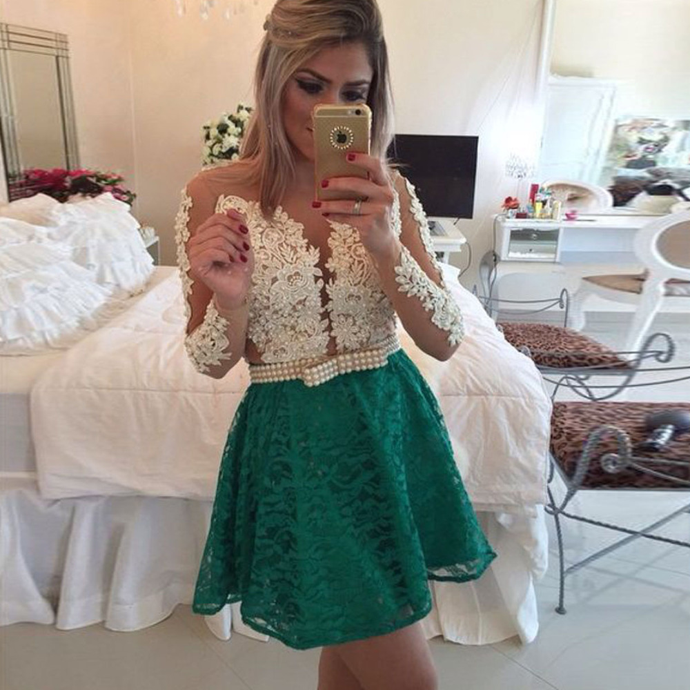 369c2acc73a Fast Shipping Lace Long Sleeve Short Prom Dresses Sexy Sheer Back Vestido  De Festa Elegant Woman Party Dress Dress 2015