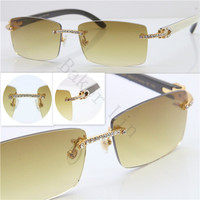 New Rimless Luxury Smaller Big Stones SunGlasses Buffalo Horn Glasses Men Women Sunglasses for Brand Designer Best Quality with