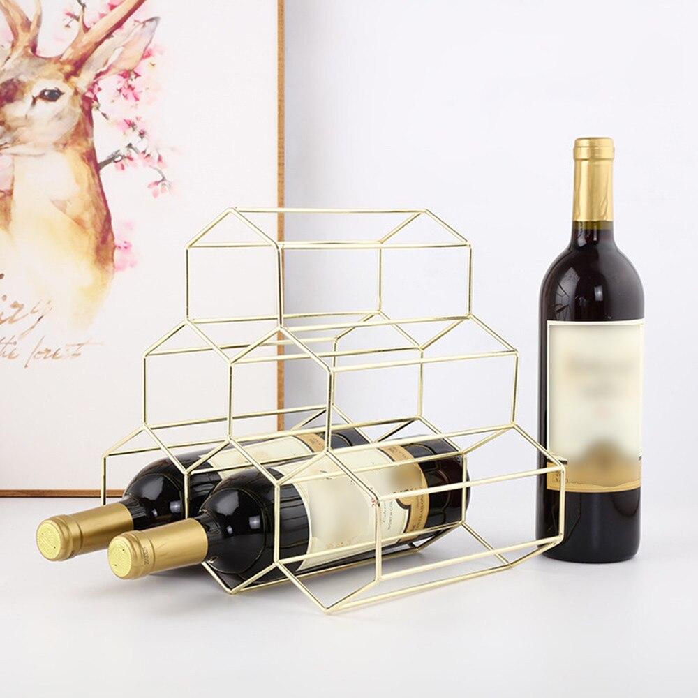 TOPINCN 4 Bottles Metal Wine Rack Display Countertop Free-Stand Stemware Holder Storage Shelf 2-Way Storage Original Design