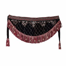 Women Belly Dance Clothes Velvet Half Circle Gypsy Costume Fringe Hip Scarf with Coins Tribal Belly Dance Belt
