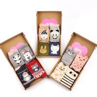 OLN KMN 11-23 padrões de animais dos desenhos animados meias de algodão de impressão para a mulher gato urso criativo meias (20 pares/lote)