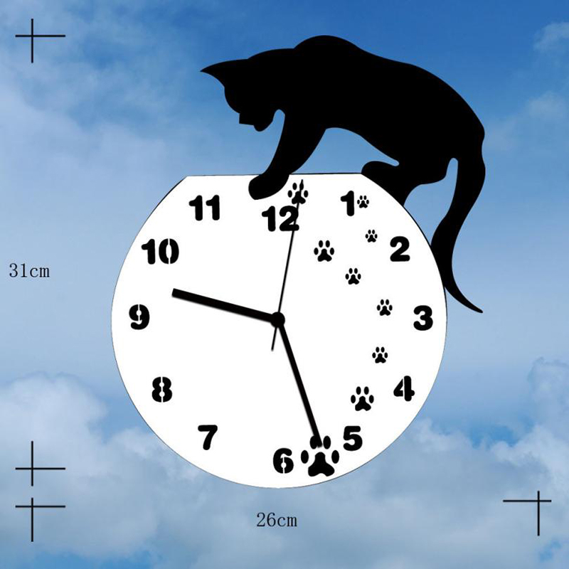Image 3 - Hot Wall Stickers Wallstickers Cute Footprints Acrylic Clock Modern Home Decor Decoration In Home-in Wall Clocks from Home & Garden