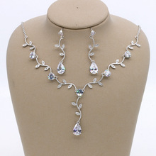 SLBRIDAL Copper Wedding Cubic Zircon Jewelry Set Bridal CZ Necklace Earring Set Banquet Party Jewelry Set Bridesmaids Jewelry 2018 new fashion green square cz zircon necklace earring bracelet ring wedding bridal banquet dinner dressing jewelry set