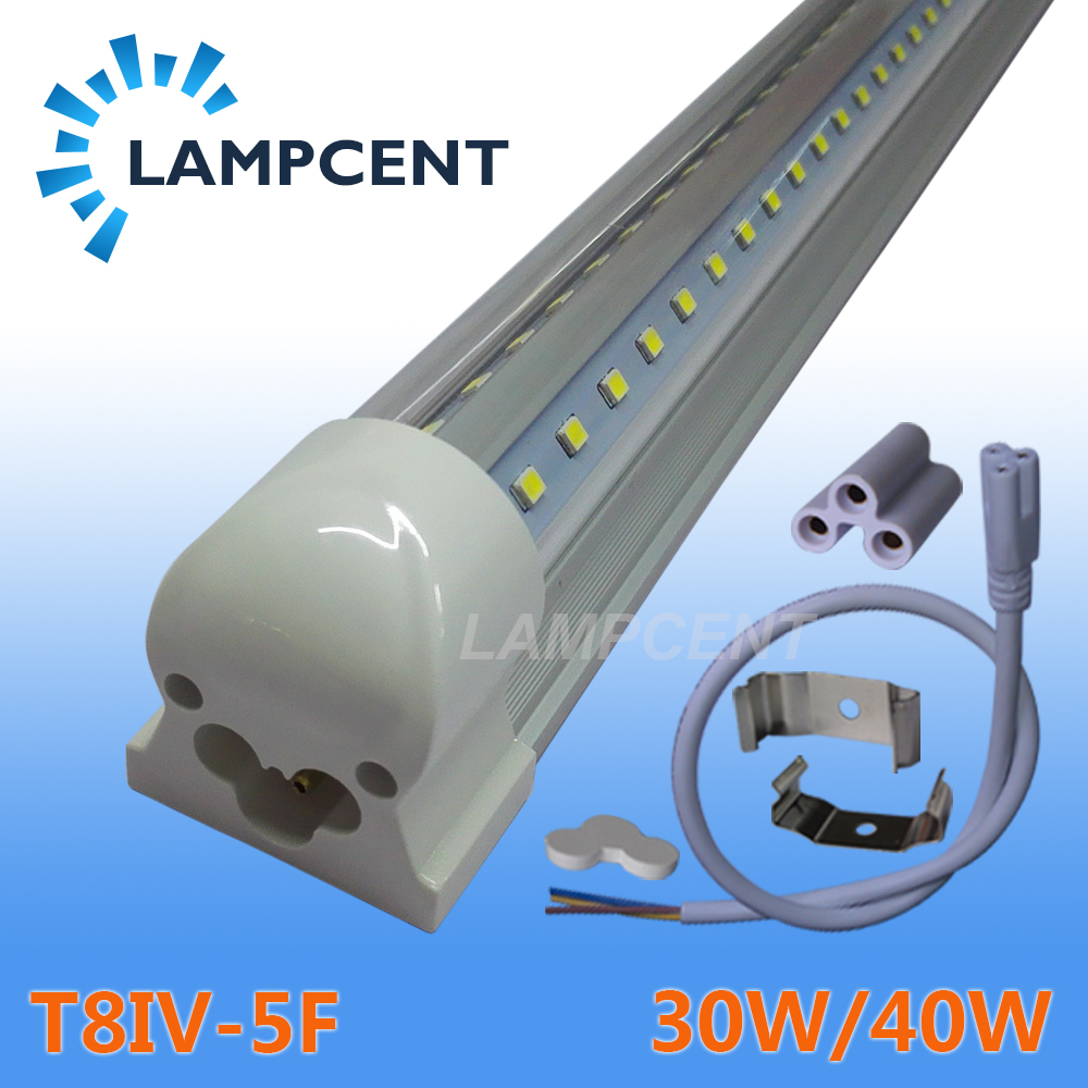 V shaped LED Integrated Tube 5ft 1.5m 1500mm Bar Lamp T8 Integrated Bulb Fixture Linkable Super Bright With 85-277Vac 4 pack free shipping t5 integrated led tube lights 5ft 150cm 24w lamp fixture with accessory milky clear cover 85 277v