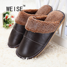 Genuine Leather Shoes Men  Winter Home Slippers Slip Korean Thick Warm Cotton Slippers For Women Shoes Black Red