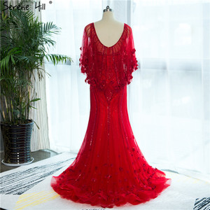 Image 3 - 2020 สีแดง Mermaid Elegant ชุดราตรี Real Photo ประดับด้วยลูกปัดคริสตัลแฟชั่นเซ็กซี่ชุดราตรีอย่างเป็นทางการ Real Photo LA6135