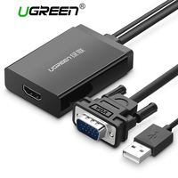 Ugreen VGA To HDMI Converter Cable With USB Audio Input Up To 1080p Supported For PC
