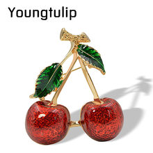 Young Tulip Red Enamel Cherry Brooches for Women Fruit Style Brooch Pin 2 Colors Available Fashion Jewelry Classic Accessories(China)