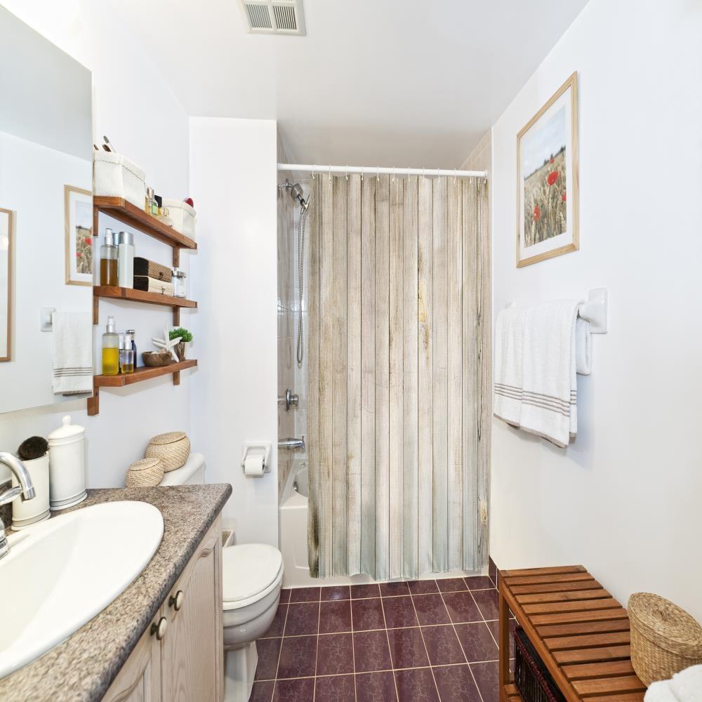 Vintage Waterproof Shower Curtain Printed With Wood Door Retro Household Water Resistant Polyester Bathroom Decor