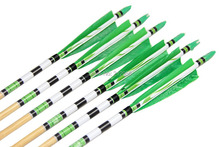 Longbowmaker Green Printing Turkey Feathers Cedar Wood Targeting Arrows NWYT4 (12 Pack)