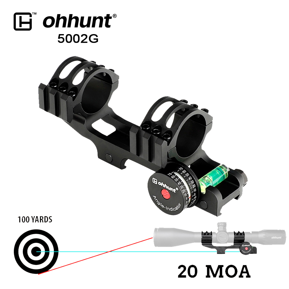 ohhunt Tactical 25.4mm 30mm Scope Mount Rings 20 MOA Picatinny Rail Base Angle Cosine Indicator Kits with Bubble Level for Rifle
