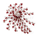 Topearl Jewelry Red Coral Beads, White Freshwater Pearl Pin Brooch Handmade FPB015