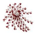 Topearl jóias Coral vermelho, Branco pérola broche Handmade FPB015