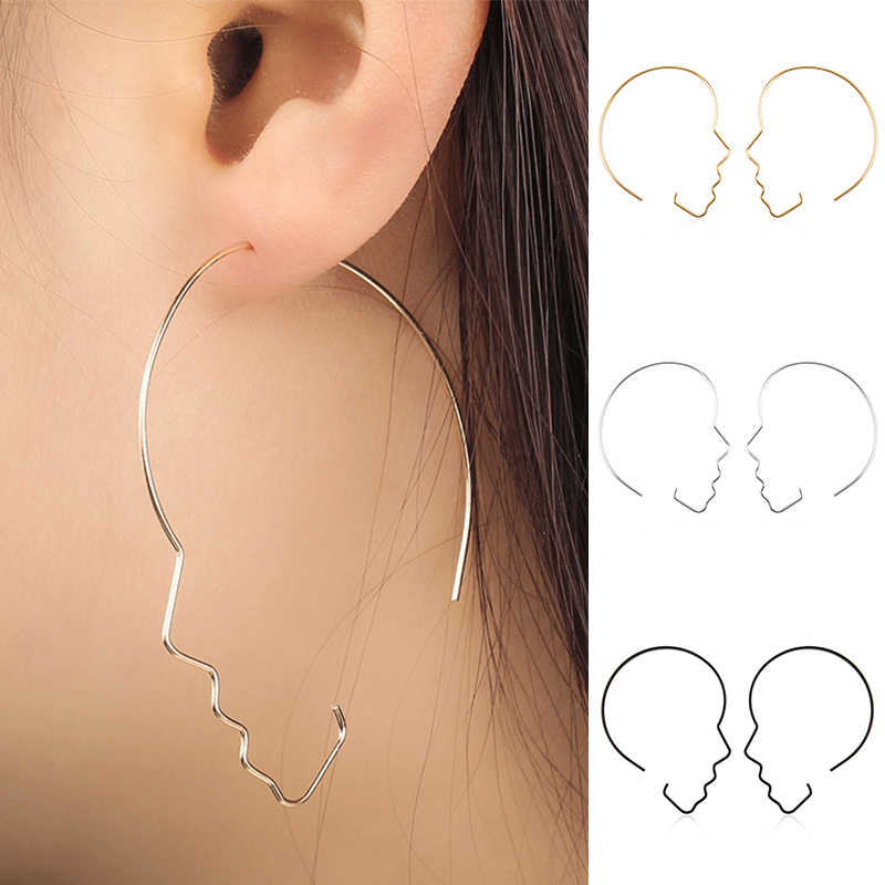 5d2ab923b LNRRABC 2018 new Fashion Exaggerated jewelry face silhouette hollow ladies  alloy hoop earrings for women brinco