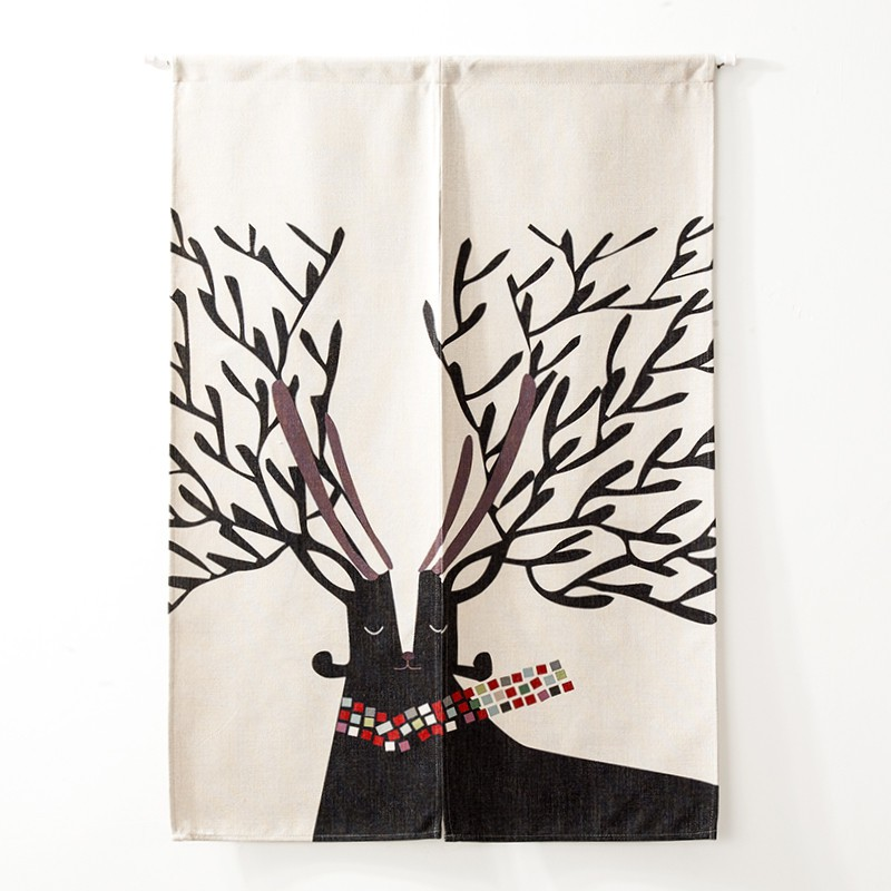 Japanese style Doorway Curtain Wall Hanging Tapestry Screens & Room Dividers Printed Cute Pattern on Cotton Linen