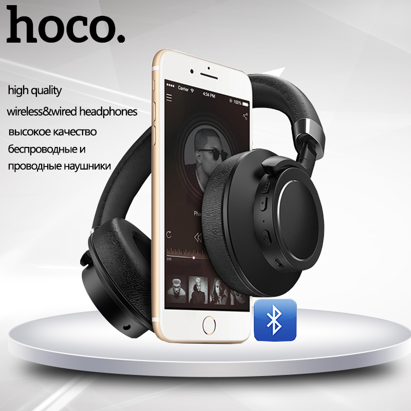 HOCO Wireless & Wired Gaming Headphone W10 with Microphone for PC Smartphone Bluetooth Remote Music Headset Long Time Standby universal super long standby wireless bluetooth headset with edr microphone black