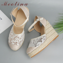 Купить с кэшбэком Meotina Espadrille Platform Wedges Sandals Women Summer Bohemia Lace High Heels Sexy Female Sandals Wedding Shoes Big Size 34-43
