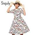Sisjuly vintage dress цветочным принтом dress цветок осень зима элегантный 50 s рокабилли платья 4XL vestido де festa женщины платья