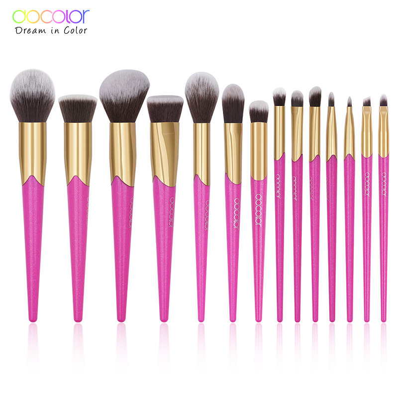 Docolor 14PCS Beauty Makeup Brushes Set Cosmetic Foundation Powder Blush Brush Eyeshadow Eyebrow Lip Make Up Brush Kit Maquiagem