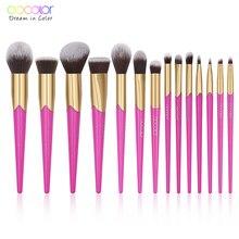 Docolor 14PCS Beauty Makeup Brushes Set Cosmetic Foundation Powder Blush Brush Eyeshadow Eyebrow Lip Make Up Brush Kit Maquiagem