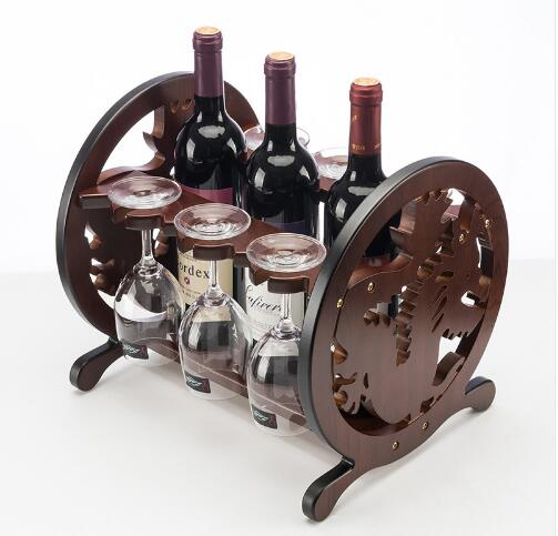 Creative Round Wood Wine Rack European Fashion Bar Wine Rack Wine