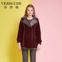 Veri Gude Women Big Flat Collar Winter Coat Faux Leather Suede Jacket Faux Fur Lined Coat