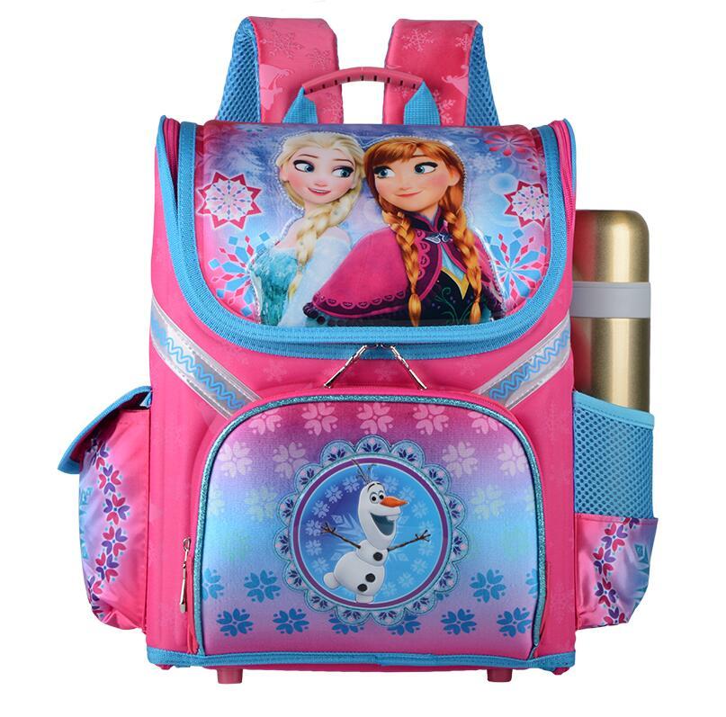 New Girls Cartoon Snow Queen Backpack School Bag Orthopedic Children Schoolbag Anna Elsa Backpack Mochila Infantil-in School Bags from Luggage & Bags