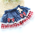 Girls Denim Skirts Plaid Lace Bow Bear Pleated Skirt Cute Baby Girl Summer Autumn Kids Clothing Children Clothes for 4-10T