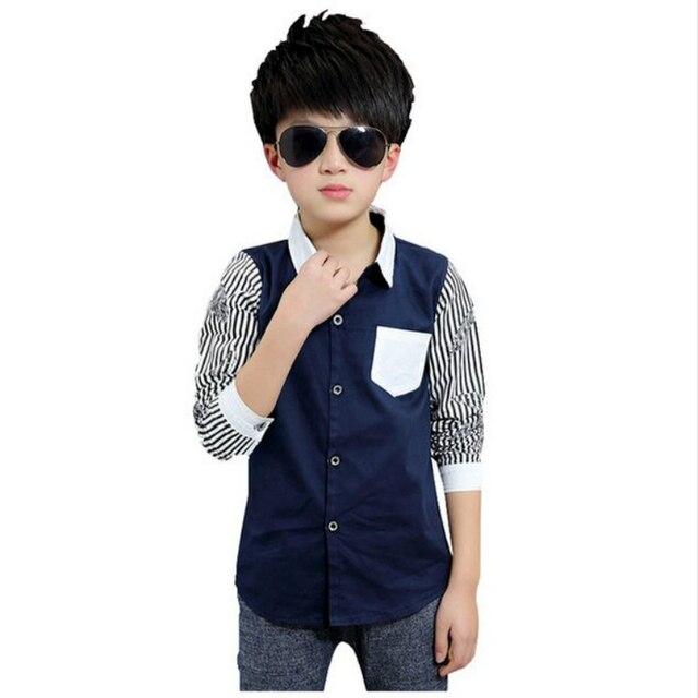 1e43a02758c Carino Tommu New Arrivals 100% de Algodão Meninos camisas listradas Branco  Preto Azul Escuro Kd