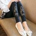 2016 весенняя мода кружева одежда для беременных леггинсы свободные большой размер пэдди Упругой вырез узкие брюки Выдалбливают брюки
