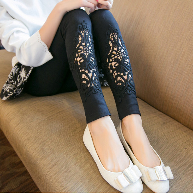 2016 spring fashion lace clothing maternity legging loose big size paddy Resilient cutout skinny pants Hollow Out trousers