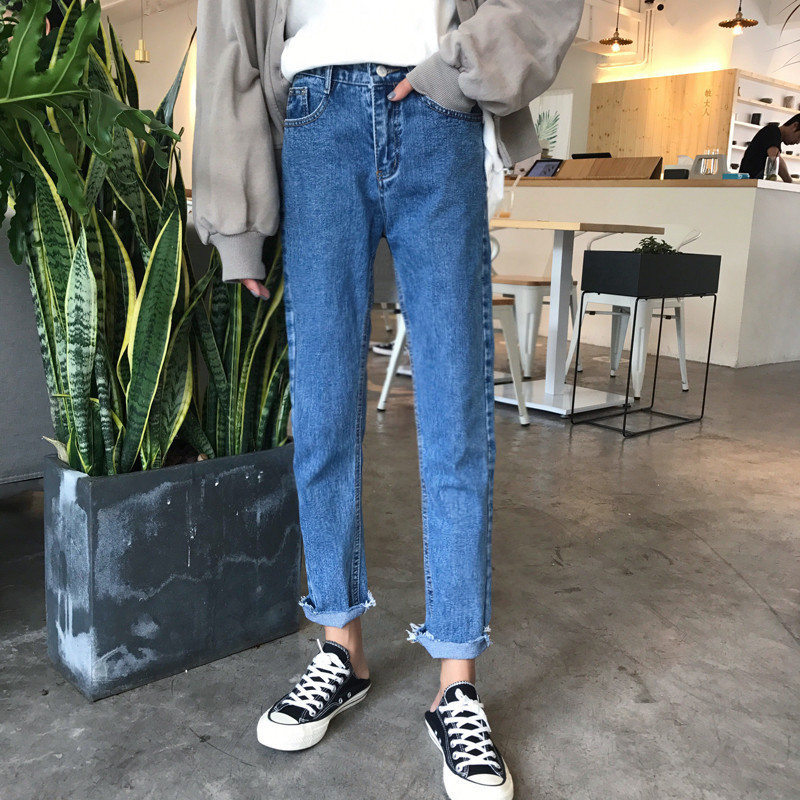 Spring Summer Denim Pants Women Casual High Waist Ankle-Length Pants Female Casual Straight Jeans