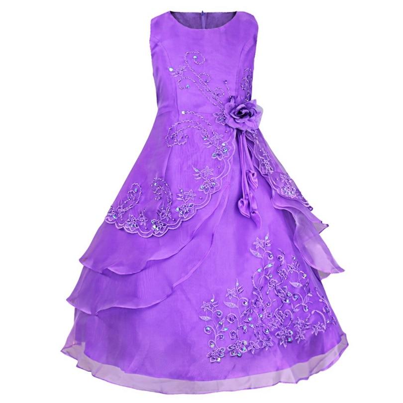 Tiaobug Niñas bordado Vestidos de flores de niña princesa formal ...