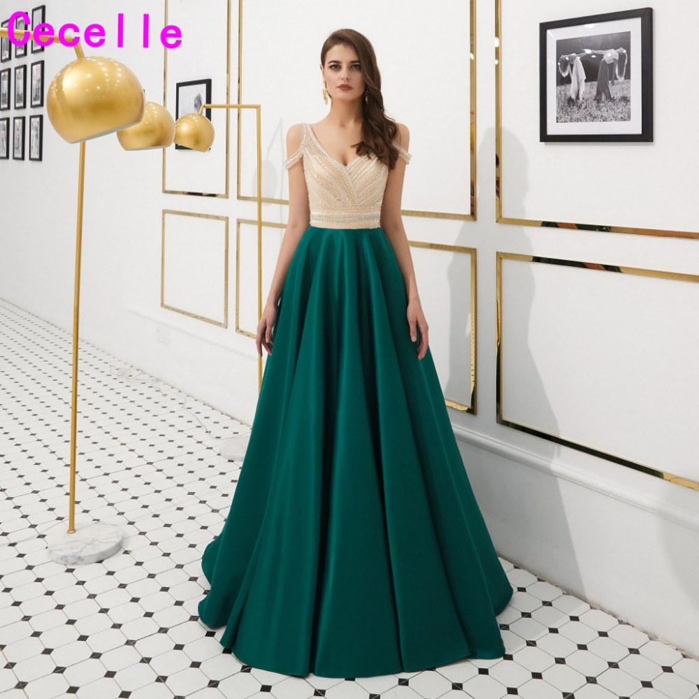 2019 New Green Satin A-line Formal Evening Dresses Sexy V Neck Backless Luxury Beading Women Formal Evening Party Gowns