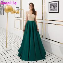 cecelle 2019 Green Satin A-line Evening Dresses Sexy V Neck