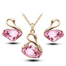 2016 women wedding jewelry collection of classic rhinestone swan earrings and pendant necklace Women jewelry collection G211