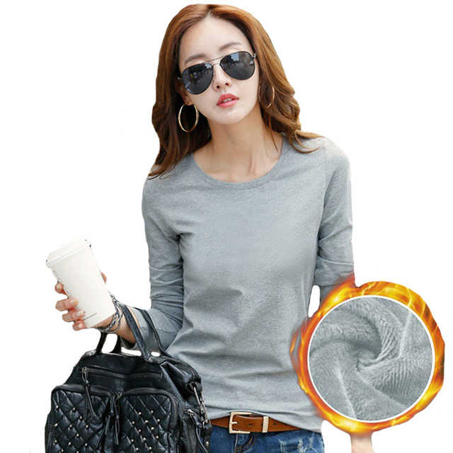 Plus Size Warm Tops T Shirt Women Autumn Winter Slim Long Sleeve T-shirt Female Gray Black Tshirts Fleece Tee Shirt Femme B86